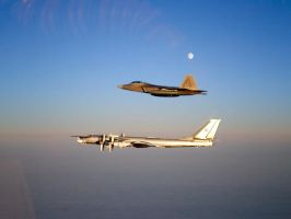 F-22 Raptor and Tu-95 Bear by GeneralTate