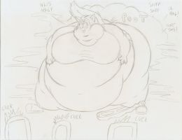 Fat Skunkette farting sketch by Robot001