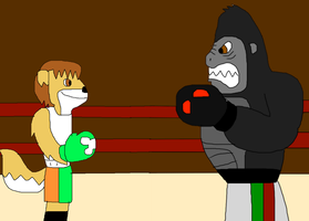 Small Mike VS. Grumpy Gorilla by jacobyel