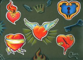 Heart tattoo flash by moncadeldemonio