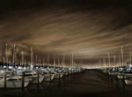 Auckland Harbour night scene by BlackMonkey-Chi