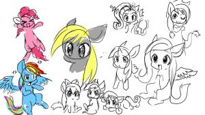 chibi mlp doodle stuff :I by Fierying