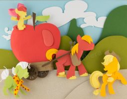 MLP The Big Apple Family Mixed Media Paper Art by elathera
