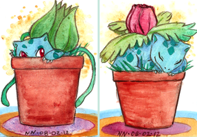 Pokemon ACEOs 11 and 12 by SailingBreezes