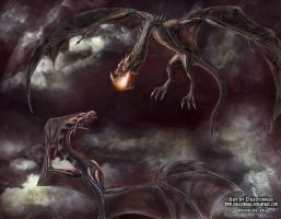 Dragon battle by Dragonniar