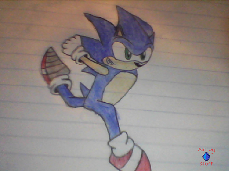 sonic running color pencil by Anthonystuff