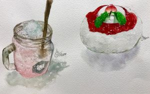 Watercolor : Beverage and Dessert by TashaChan