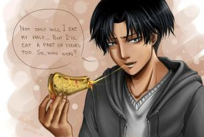 Levi vs Pizza by WhiteYoukai