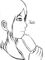 Xion Eating Ice Cream Lineart by Aroselia