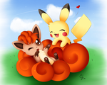 Vulpix and Pikachu by Exceru-Hensggott