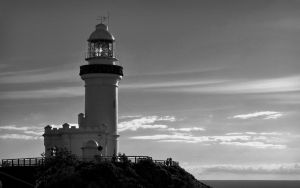 The Byron files - lighthouse in black and white by CouchyCreature