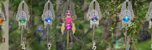 Rainbow Sailor Scout Key Necklaces by PrincessSongBird