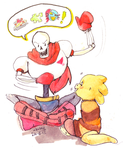 Request: Papyrus hanging out with Monster Kid by Dauverney