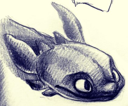 Toothless Graphite Sketch by AlexandraBowmanArt