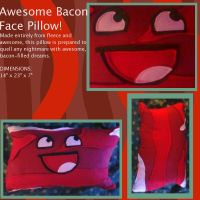 Awesome Bacon Face Pillow by SuManana