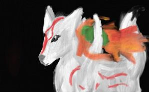 Okami Amaterasu Drawing by chibicosplayer