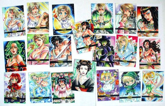 Legend and Lore sketch cards by Sanna-U
