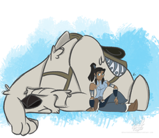 A Girl and her Polar Bear Dog by feathersRuffled