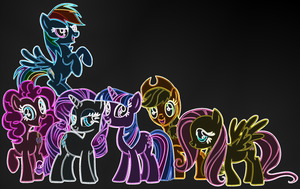Mane 6 Neon Wallpaper 2 by FacelessSoles