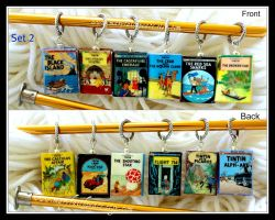 Tintin Stitch Markers for Knitting or Crochet by maryfaithpeace