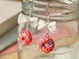 Donut Bow Earrings Pink by Madizzo