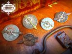 Steampunk Clockface Gear Brooches by tursiart