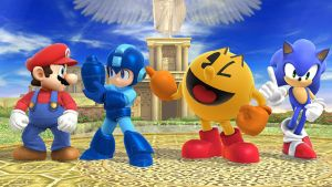 Mario, Sonic, Mega Man and Pac-Man in Smash Bros. by MollyKetty