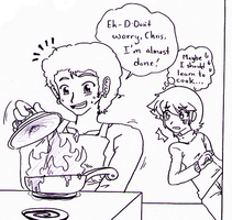 Sonic X - Danny x Chris cooking gift by Cloud-Kitsune