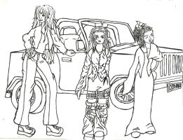 3 girls posing with a jeep by mystangelwingsstock
