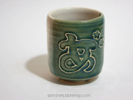 Green White Ah Tea Cup by skimlines