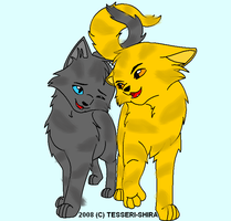 Lionblaze and Cinderheart by OneBangBeauty
