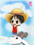 Chibi Luffy and Merry-Go by sakuraxls2