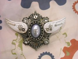 steampunk blue wings badge by TimelessCharm