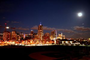 Full moon denver skyline night by designKase