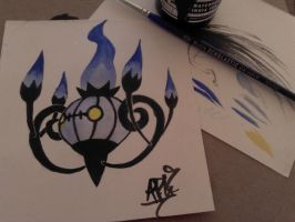 Chandelure: Ink and Watercolor Experiment by Crowlita
