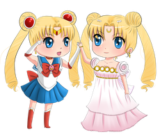 Commission: Sailor Moon and Princess Serenity by RanChu-Obscure