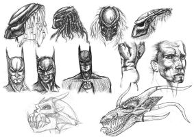 Old Drawings - Batman Predators by ButtZilla