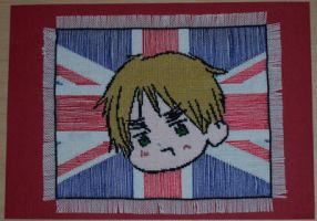 England Cross Stitch Fan Card by chujo-hime