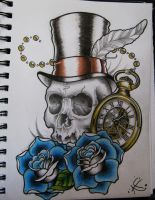 Skull and Watch by Frosttattoo
