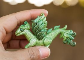Pearl Green Dragon Pendent by Len-Corcino