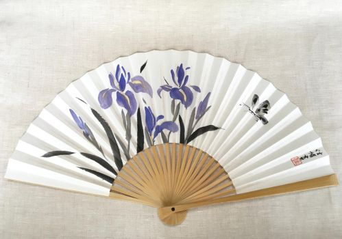 Signs of Summer I, hand-painted Japanese fan by catherinejao