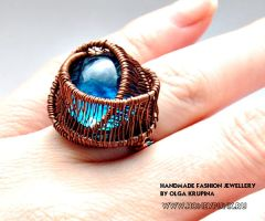 Ring Dark Blue from copper by honeypunk