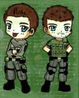Comission : Chibi Piers and Chris Pro Pose by LeonandClaireBSAA