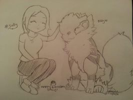 Trainer and Arcanine (HBD Sally!) by Pokochip