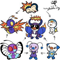 Butterfree/Oshawott/Cyndaquil Hexafusion by TattyBudderfly