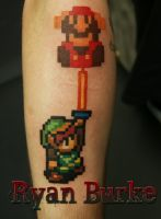 Link and Mario tattoo by filthmg