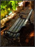 Bench by pond by liquidsunshine1024