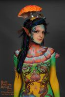 Toadstool Pixie body painting torso by Bodypaintingbycatdot