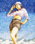 Pointillism pin-up chick by chlora
