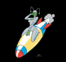 Alien Chick Missile Salute by Chadwick-J-Coleman